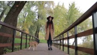 girl walking with dog in autumn fall YouTube Thumbnail template