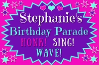 "Girls Birthday Parade 36""WIDE by 24"" TALL POS Poster template"