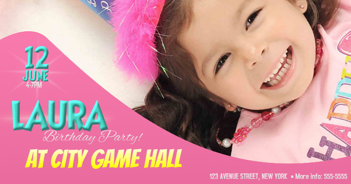 Girls Birthday party event invitation facebook shared post