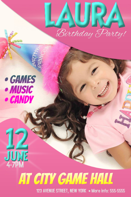 Girls Birthday party event invitation poster template