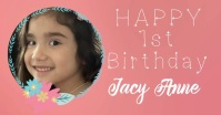 Girls First Birthday Announcement Immagine condivisa di Facebook template