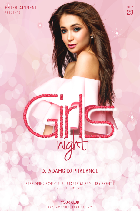 Girls Night Party Flyer Template Affiche