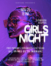 Girls Night Purple Party Flyer Template