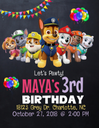 Girls Paw Patrol Birthday Invitation