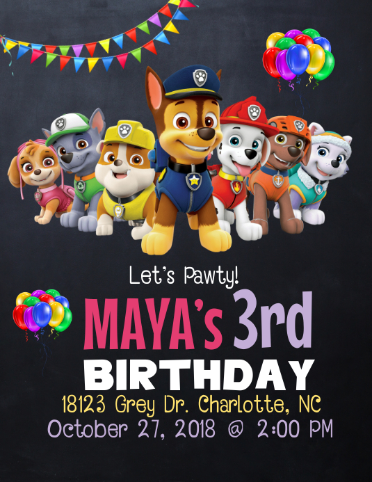 Girls Paw Patrol Birthday Invitation Template Postermywall