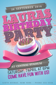 Girls Pink Birthday Party Event Poster Flyer Template