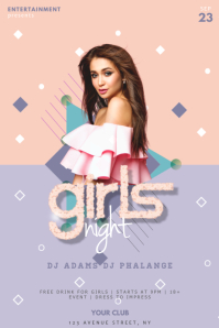 Girls Pink Pastel Party Flyer Template
