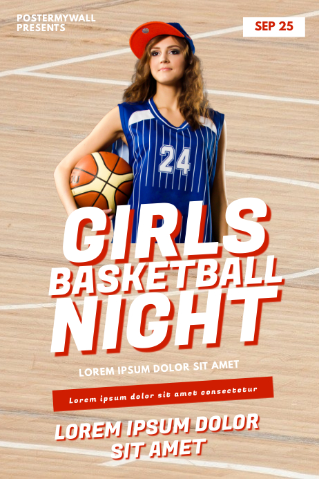 Girls Women Basketball Game Flyer Template