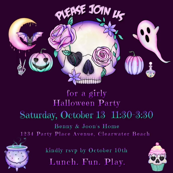 Girly Halloween Party Instagram-bericht template