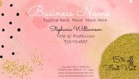 Girly Pink Modern Watercolor Glitter Business Wizytówka template