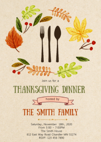 Give thanks dinner party invitation