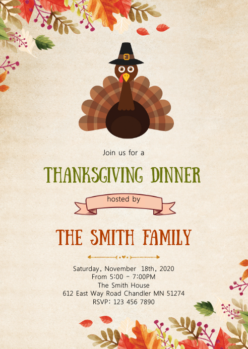 Give thanks dinner party invitation A6 template