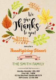 Give thanks party invitation A6 template