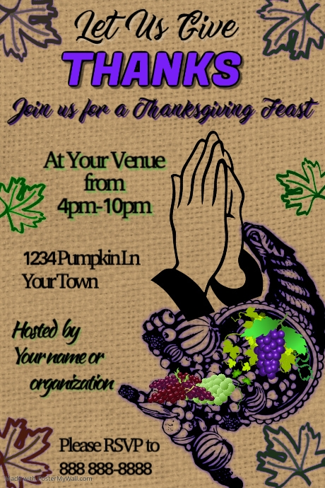 Give Thanks Thanksgiving Template | PosterMyWall