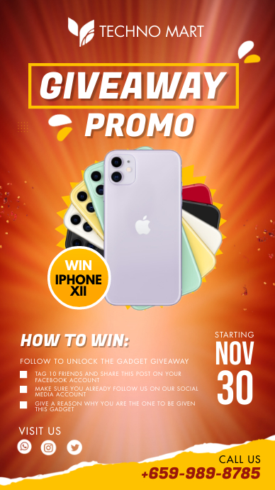 Giveaway Promotion Poster Template История на Instagram