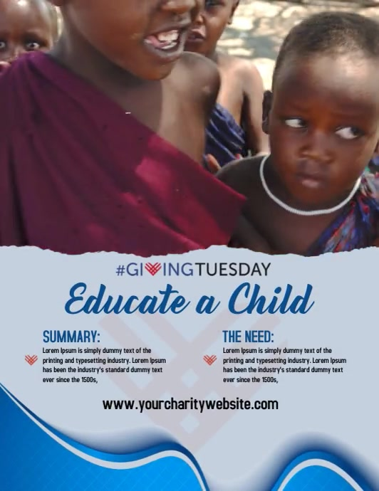 Giving Tuesday Fundraising Flyer Template Pamflet (Letter AS)