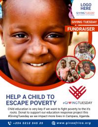 GivingTuesday Fundraising Flyer Template Рекламная листовка (US Letter)