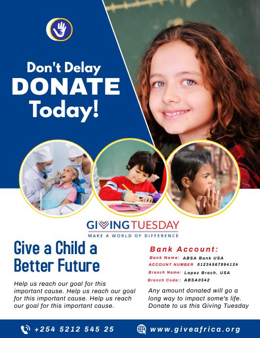 GivingTuesday Fundraising Flyer Template Pamflet (Letter AS)