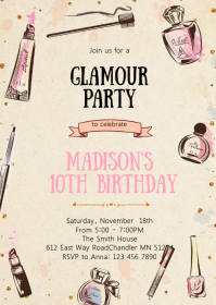 Glamour birthday invitation A6 template