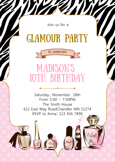 Glamour birthday invitation