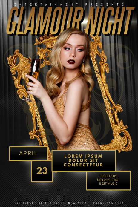 Glamour elegant Luxury gold party Flyer Template