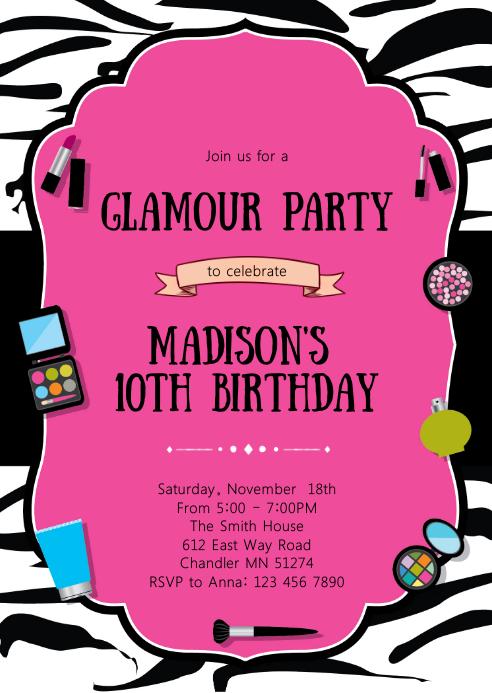 Glamour make up birthday invitation