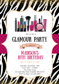 Glamour make up birthday invitation A6 template