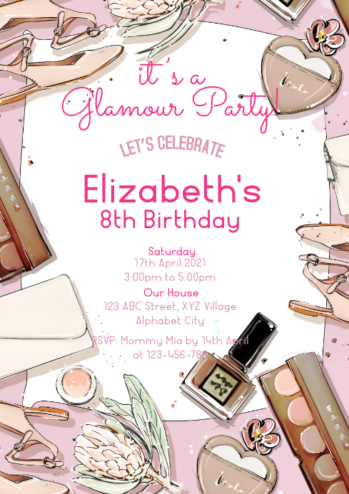Glamour Party Invitation A4 template