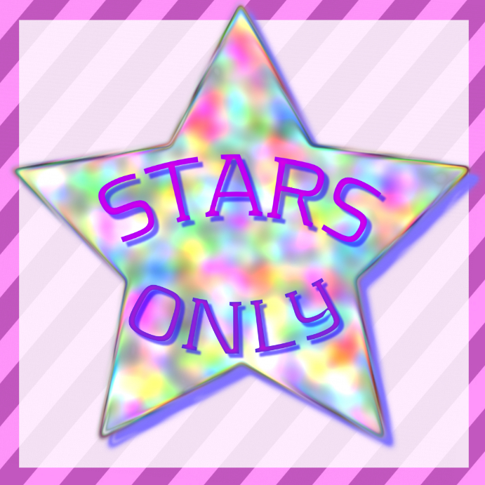 glimmering star STARS ONLY -pink and striped blue background