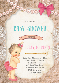 Glitter and pearls baby shower invitation