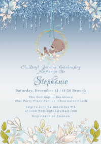 Glitter Blue Floral Boy Baby Shower Invite A5 template