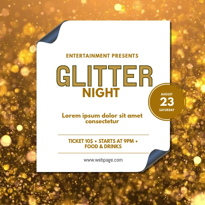 Glitter gold event video template Vierkant (1:1)