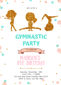 Glitter Gymnastic birthday party invitation A6 template