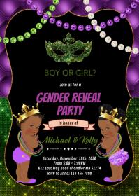 Glitter mardi gras African American gender re A6 template