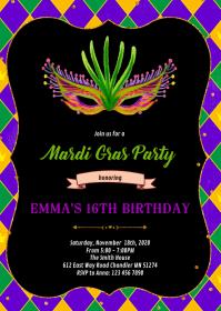 Glitter mardi gras party invitation A6 template