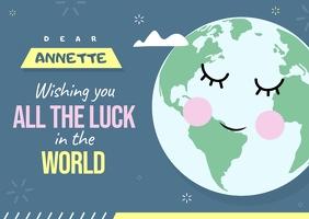Globe Themed Goodluck Card Открытка template