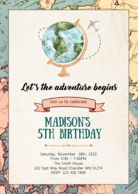 Globe Travel birthday party invitation