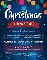 Glossy Christmas Service Invitation Flyer