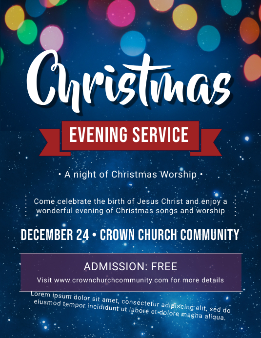 Glossy Christmas Service Invitation Flyer Template Postermywall