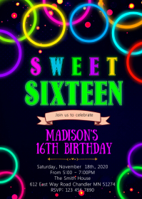 Glow 16th birthday party invitation