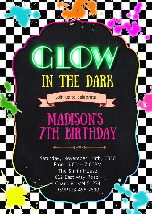Glow birthday party invitation A6 template