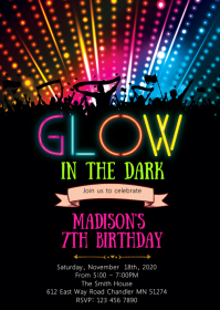 Glow birthday party invitation