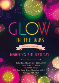 Glow birthday party theme invitation