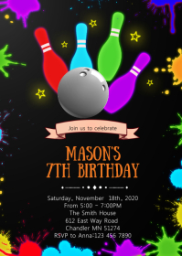 Glow bowling birthday invitation A6 template
