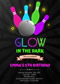 Glow bowling in the dark Birthday Invitation A6 template