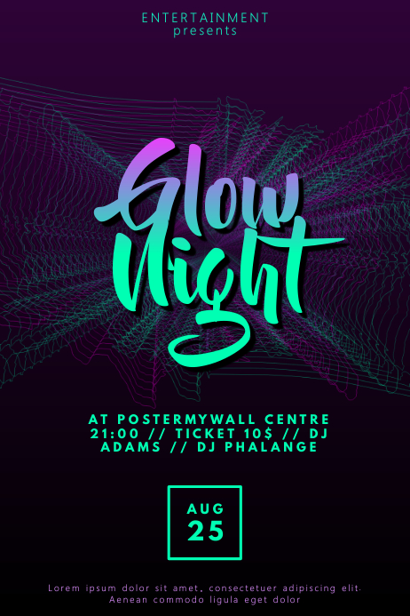 Glow Disco Party flyer template Poster