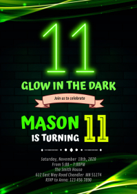 Glow Double Digits 11th Birthday Invitation A6 template