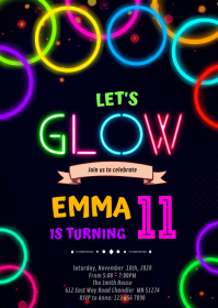 Glow Double Digits Birthday Invitation A6 template