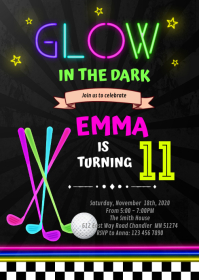 Glow golf party Birthday Invitation A6 template