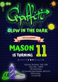 Glow hiphop graffiti Birthday Invitation A6 template